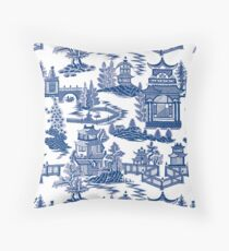 Ming China - Blue And White Chinoiserie Throw Pillow