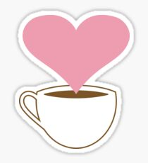 Concept. Coffee lover. Cup of coffee. Smoke heart shaped  Sticker