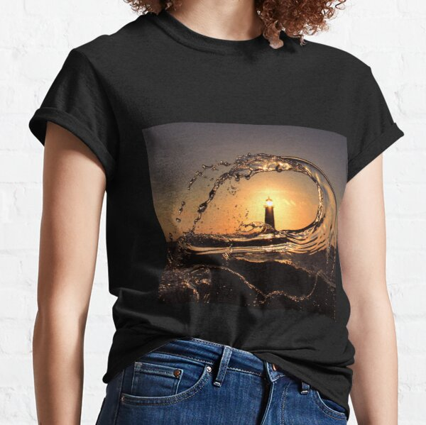 Point of Ayr lighthouse at sunset Classic T-Shirt