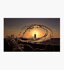 Point of Ayr lighthouse at sunset Photographic Print
