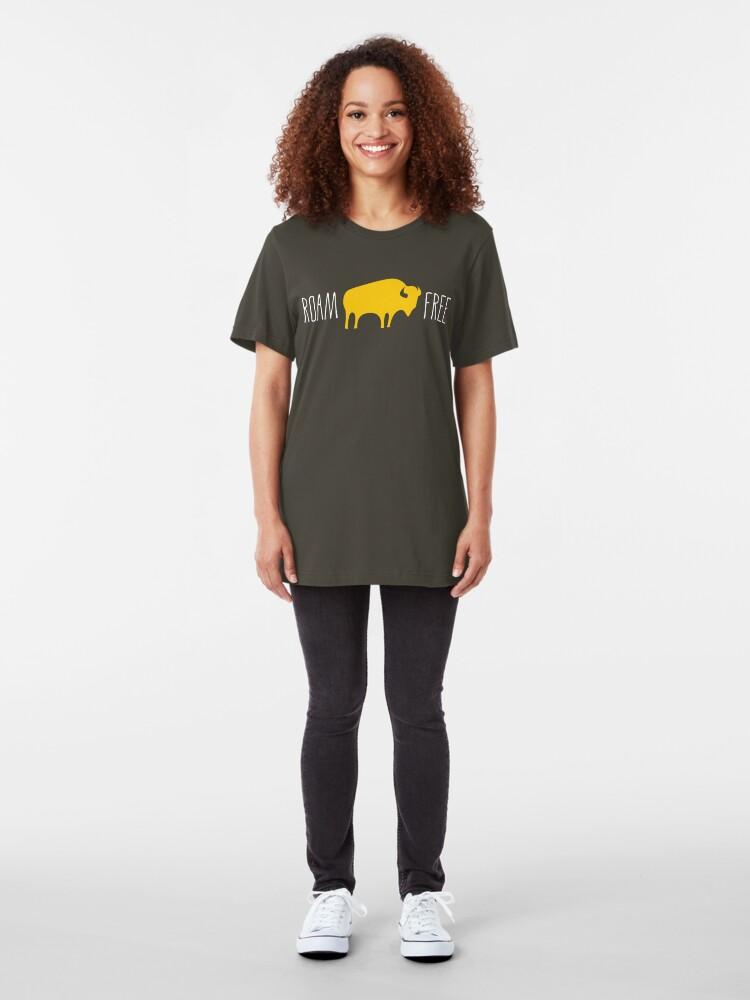 Alternate view of Roam Free Buffalo Bison Slim Fit T-Shirt