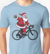 Santa Claus Riding A Road Bike Unisex T-Shirt
