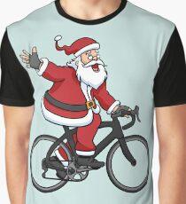 Santa Claus Riding A Road Bike Graphic T-Shirt