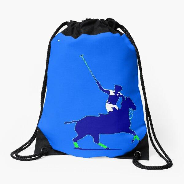 BLUE power polo player Drawstring Bag