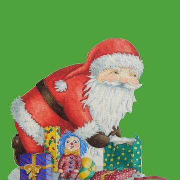 Cute santa and toys wrapping Christmas gifts by pollywolly
