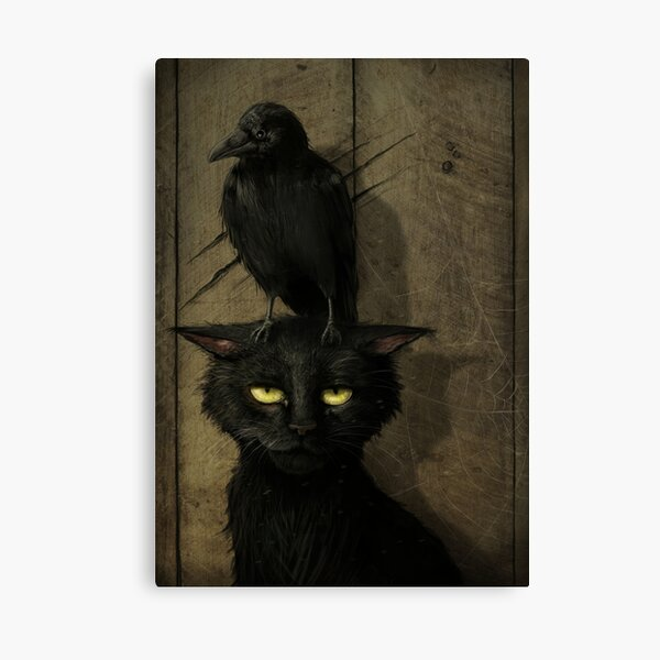 The Raven and the Cat Canvas Print