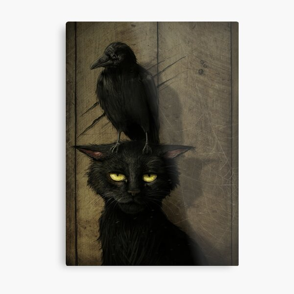 The Raven and the Cat Metal Print