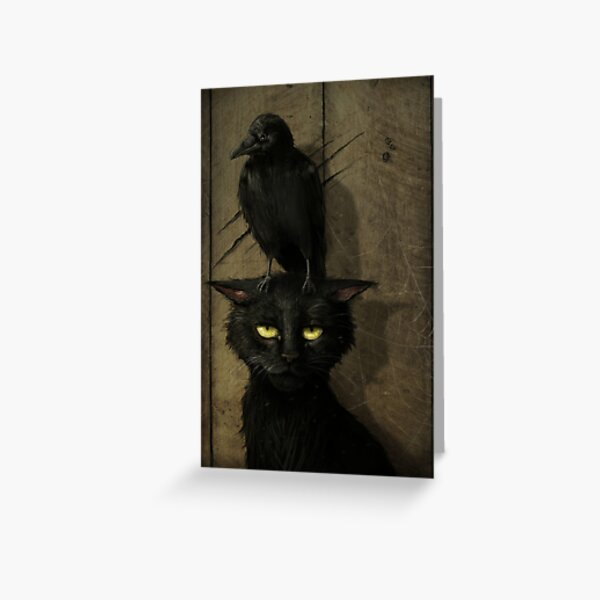 The Raven and the Cat Greeting Card
