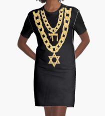 Jüdisches Chai Bling-Ketten-Chanukka-Festival des Licht-Juden T-Shirt Kleid