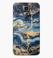 Gold Blu Marmor Hülle & Klebefolie für Samsung Galaxy