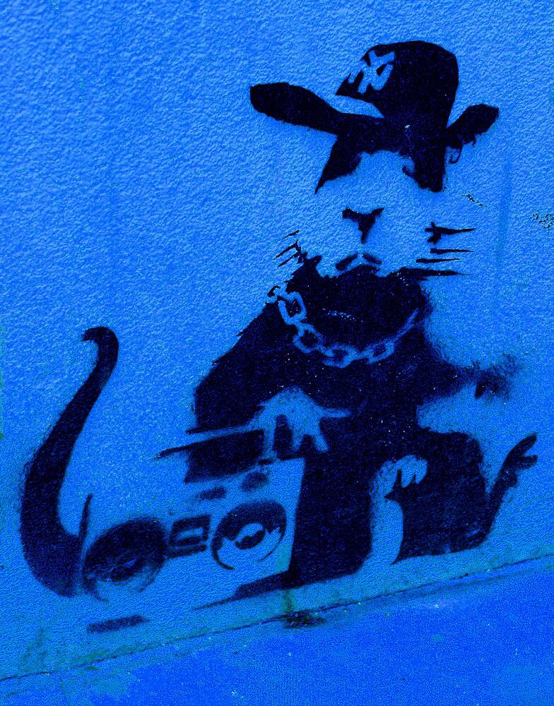 Banksy Gangsta Rat - Blue by Kiwikiwi