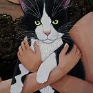 My cat friend (Woman with cat soul closer) by Madalena Lobao-Tello