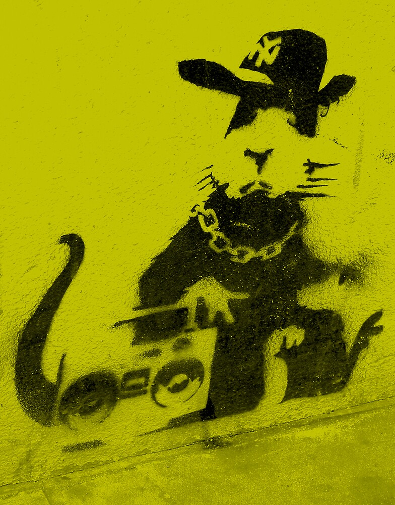 Banksy Gangsta Rat - Yellow by Kiwikiwi