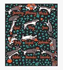 Dachshund year - lettering pattern Photographic Print