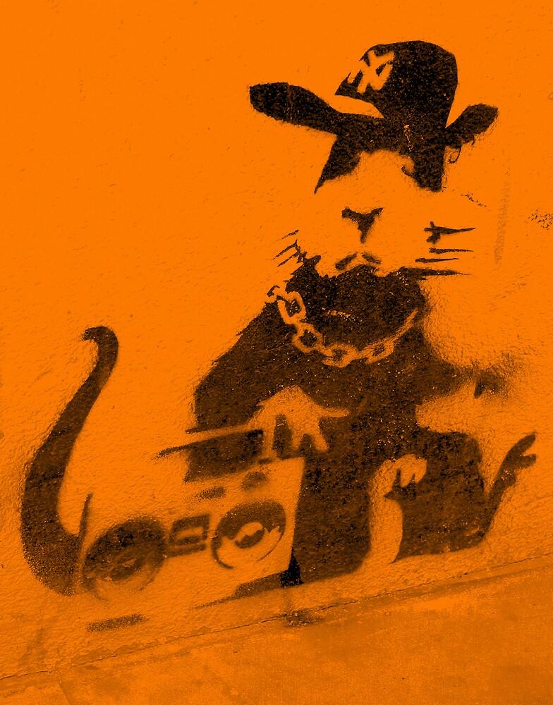 Banksy Gangsta Rat - Orange by Kiwikiwi