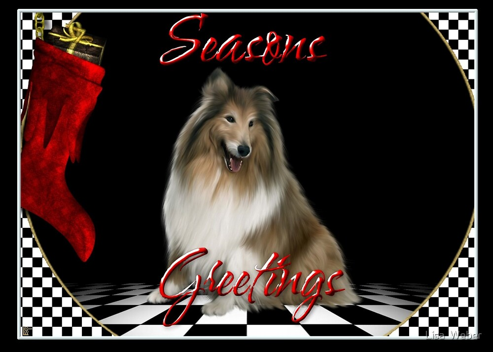 Personalized Christmas Cards Dogs: Example Collie by Lisa  Weber