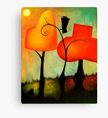 Crow & Autumn Trees Canvas Print