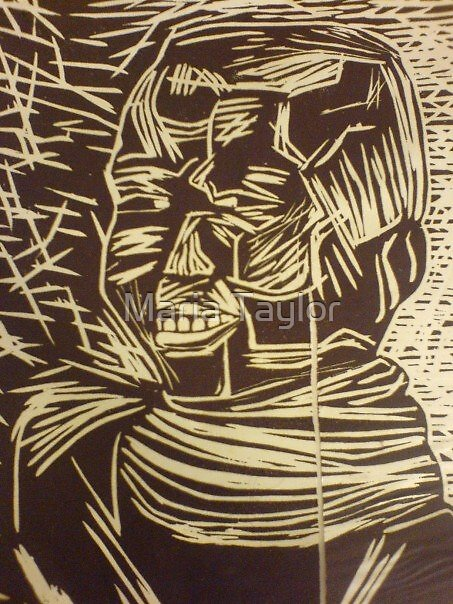 African Girl Woodcut by Maria Taylor