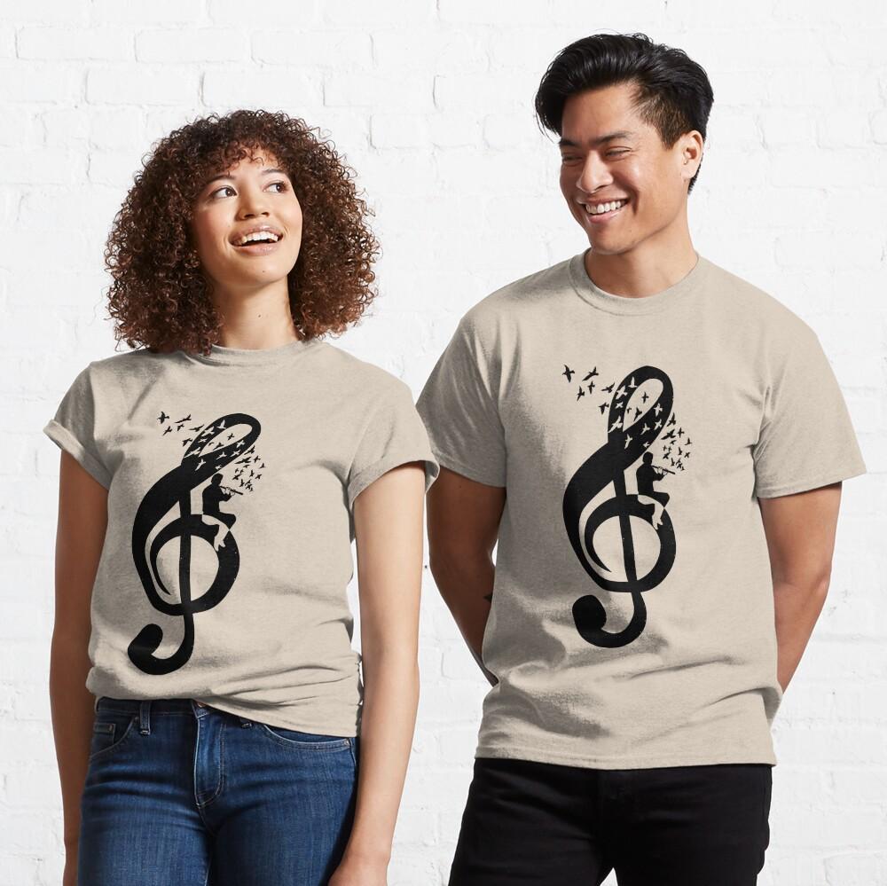 Treble Clef Flute - Music Theme Design Suitable for Men and Women Classic T-Shirt
