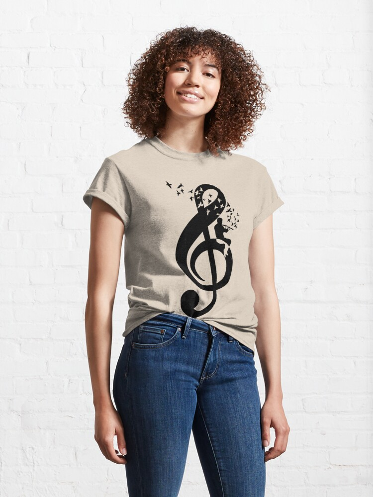 Alternate view of Treble Clef Flute - Music Theme Design Suitable for Men and Women Classic T-Shirt