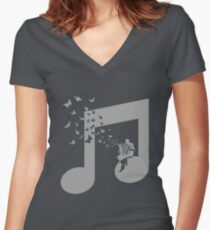 Accordion - Butterfly Women's Fitted V-Neck T-Shirt
