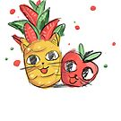 Fruit tropical cats, apple and pineapple by josefomalatrova
