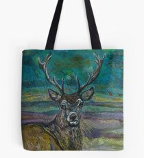 Standing Proud - Stag Embroidery - Textile Art Tote Bag