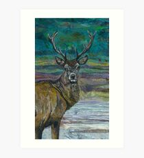 Standing Proud - Stag Embroidery - Textile Art Art Print