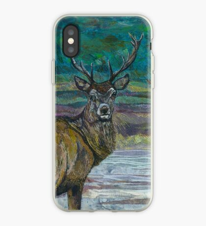 Standing Proud - Stag Embroidery - Textile Art iPhone Case