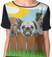 Illustration lucky dogs on a wooden fence Women's Chiffon Top