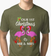 First Christmas As Mr & Mrs Newly Weds Fun Flamingos Design Tri-blend T-Shirt