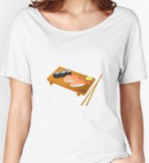 Tray of Sushi Sashimi Chop Sticks Raw Fish Women's Relaxed Fit T-Shirt