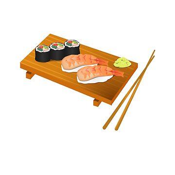 Tray of Sushi Sashimi Chop Sticks Raw Fish by stevesemojis