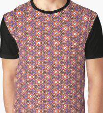 Loud Orange and Purple Bold Floral in Leather and Suede Materials, with Black Stitching - Photograph 3D Macro Graphic T-Shirt