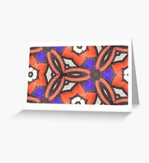 Loud Orange and Purple Bold Floral in Leather and Suede Materials, with Black Stitching - Photograph 3D Macro Greeting Card