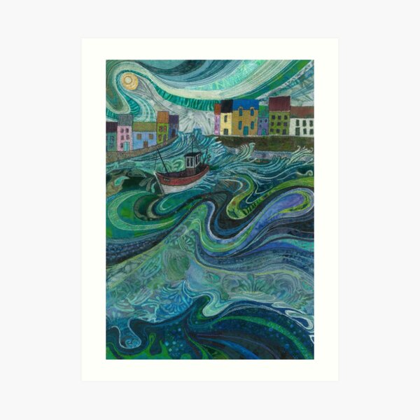 Tossed About - Fishing Boat and Waves Embroidery - Textile Art Art Print