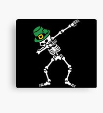 Dab skeleton dabbing St. Patrick's day Canvas Print