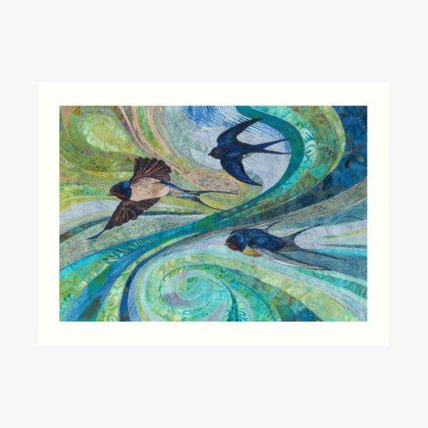 Aerial Acrobats - Swallows Embroidery - Textile Art Art Print