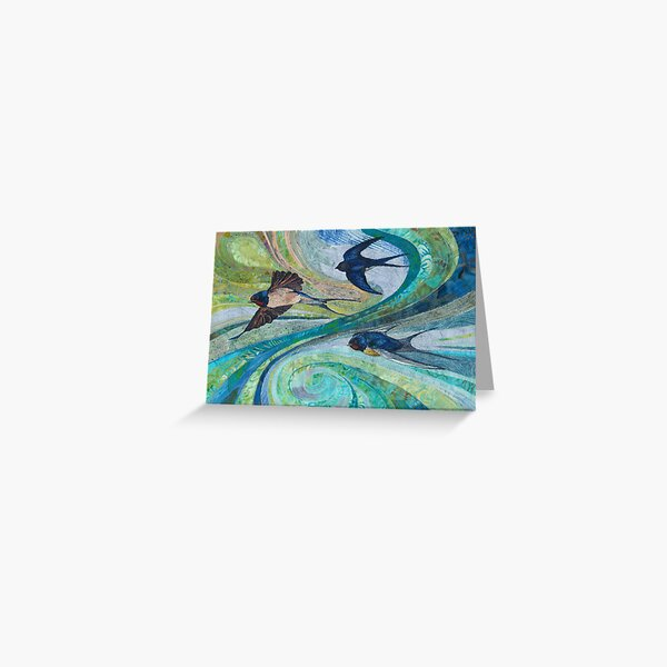 Aerial Acrobats - Swallows Embroidery - Textile Art Greeting Card