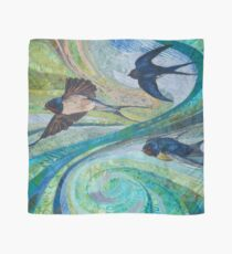 Aerial Acrobats - Swallows Embroidery - Textile Art Scarf