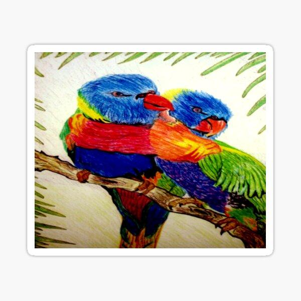 Aboriginal Art - Parrots  Sticker