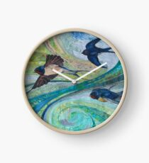Aerial Acrobats - Swallows Embroidery - Textile Art Clock
