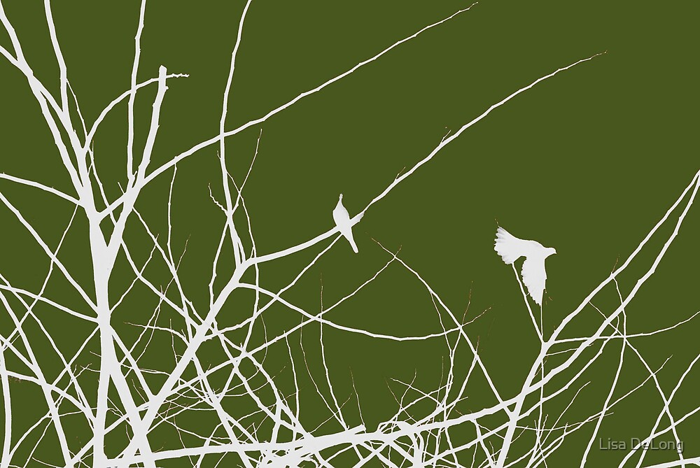 White and Green birds in trees by Lisa DeLong
