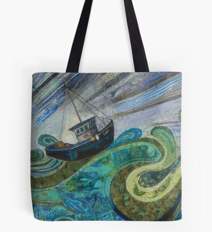 All at Sea - Fishing Boat Embroidery - Textile Art Tote Bag