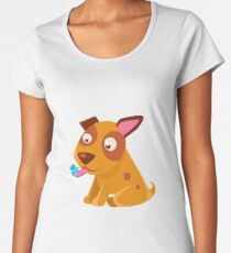 Puppy Looking At A Butterfly On Its Tongue Women's Premium T-Shirt