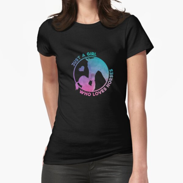 Equestrian Women Girls Love Their Horses Gift Fitted T-Shirt