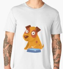 Puppy Sitting Next To The Bowl With Water Men's Premium T-Shirt