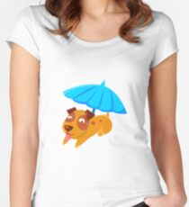 Puppy Sweating Under Umbrella On The Beach Women's Fitted Scoop T-Shirt