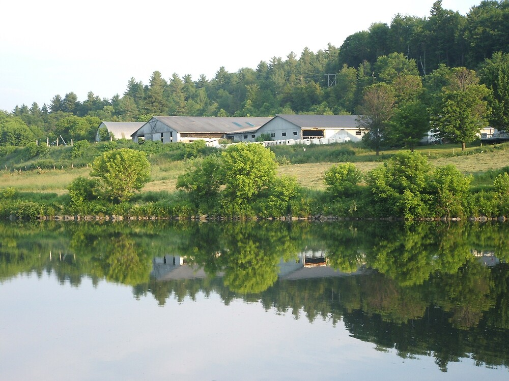 FarmHouse  on the river in Middlesex Vermont. by James Young