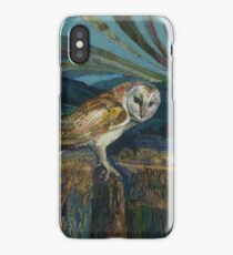 Sitting Pretty - Barn Owl Embroidery Textile Art iPhone Case/Skin
